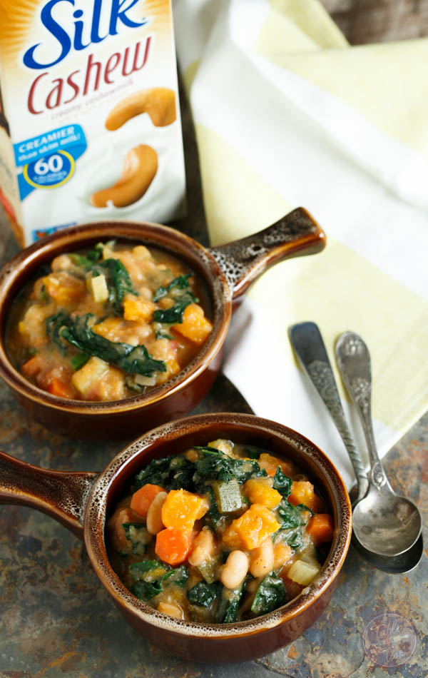 Warm up for game time with this butternut squash white bean kale stew! This recipe is full of hearty veggies! Can we say touchdown?! #MeatlessMondayNight #ad
