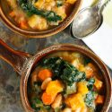 Warm up for game time with this dairy-free and meatless butternut squash white bean kale stew! This recipe is full of hearty veggies! Can we say touchdown?!