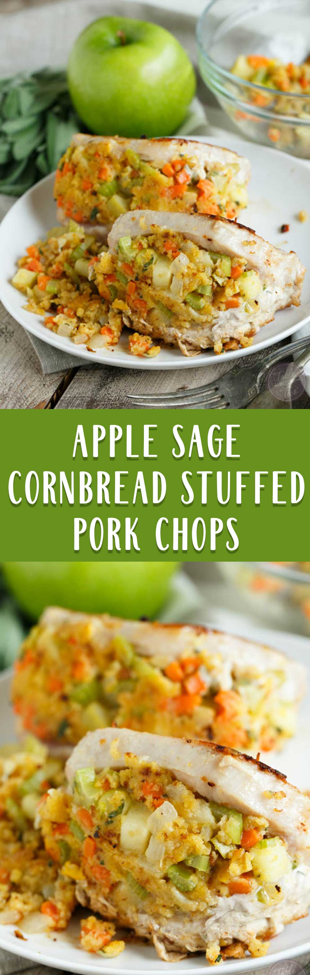 These apple sage cornbread stuffed pork chops are going to be a date-night favorite in your household. It's perfectly portioned for two! Make it a date-night in and make this wonderful dish that is sure to keep your bellies full!