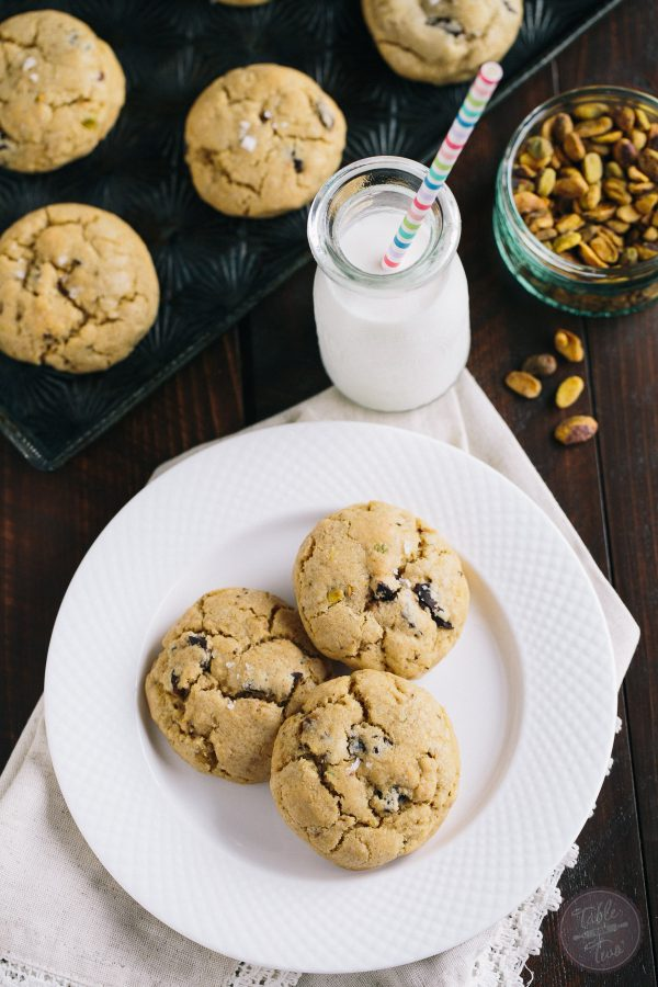 Salted pistachio dark chocolate chunk cookies from the Simply Scratch cookbook are the perfect combination of sweet and salty! You'll want to make extra as they will be gone before you know it!