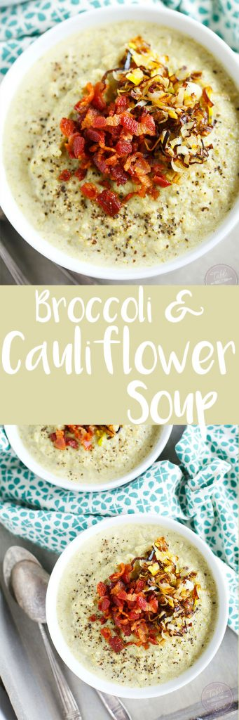 This simple roasted broccoli and cauliflower soup with crispy leeks and bacon will be your new favorite soup to warm you right up! So much flavor and it could not be simpler to make! #POURLOVEINN with College Inn Chicken Broth! #sponsored