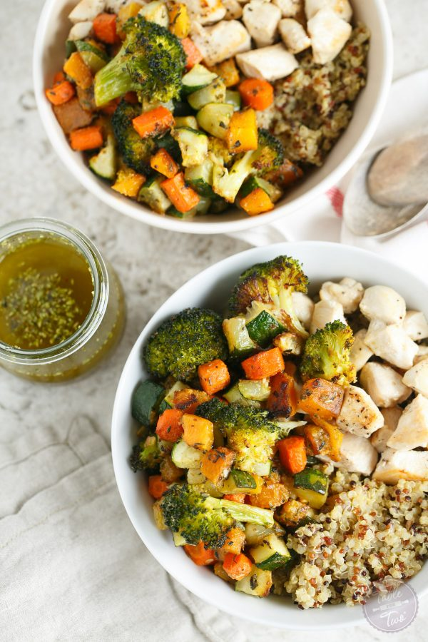 A fun way to eat your veggies and favorite grain and protein in one large bowl!