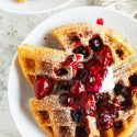 You'll never make waffles any other way again after you've tried these yeasted berry waffles. The yeasted waffles are ultra light, crispy, & even custardy! You will want to make a giant batch of this mix for future brunches!