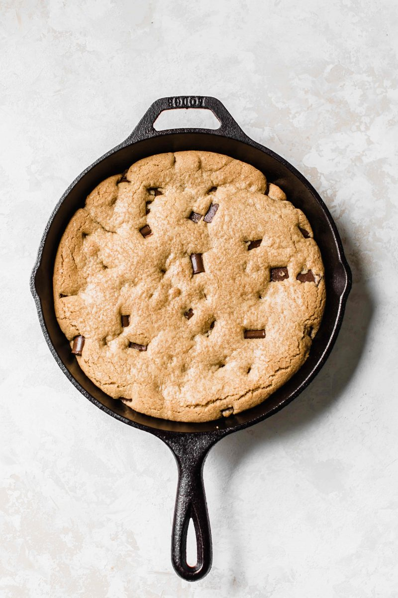 The trifecta of all cookies! Coconutty, chocolatey, soft, chewy, and crispy. All in a skillet!