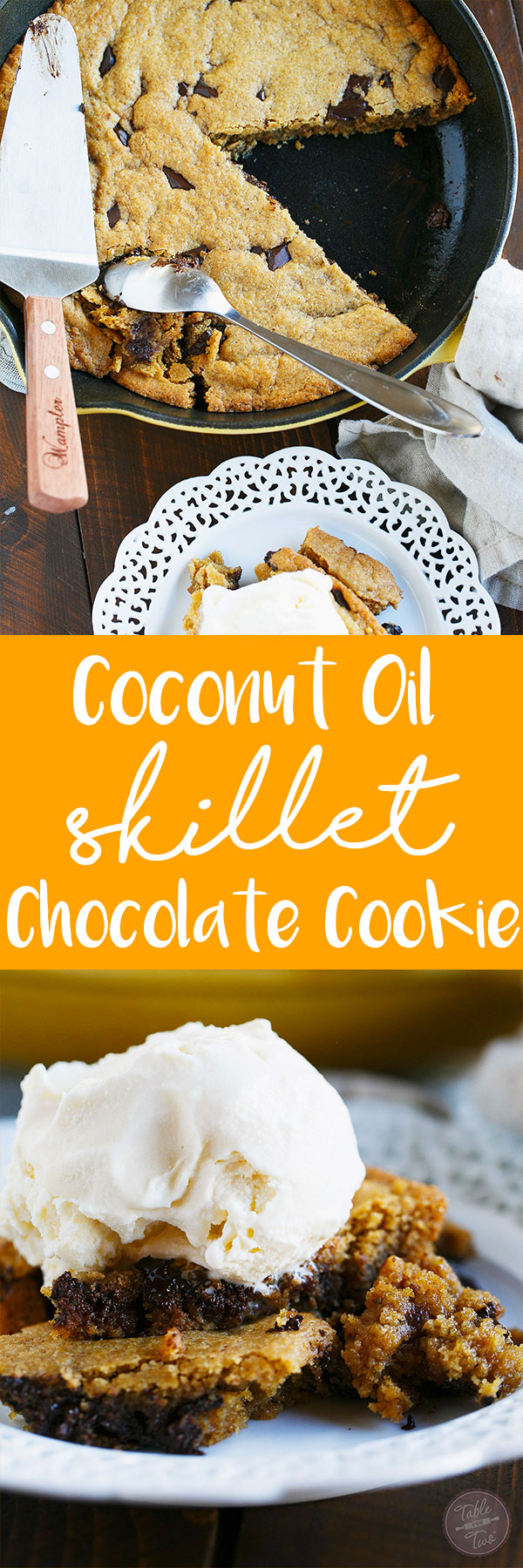 If you love coconut, chocolate, crispy, chewy, AND soft cookies....then this coconut oil skillet chocolate chunk cookie is made for you!!