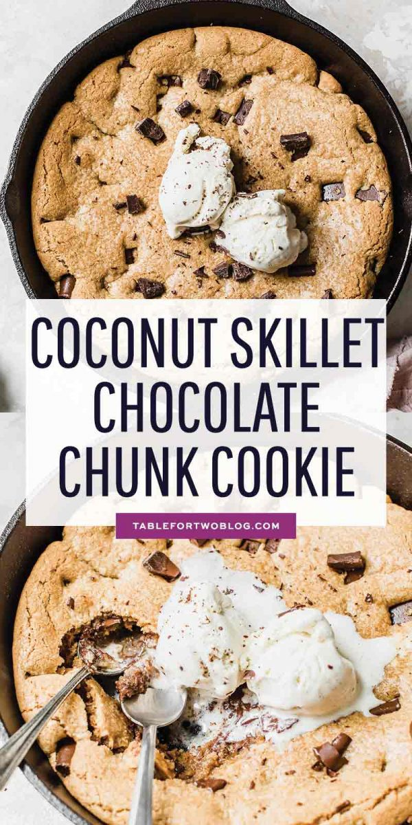 The trifecta of all cookies! Coconutty, chocolatey, soft, chewy, and crispy. All in a skillet! #cookierecipe #cookies #skilletcookie #cookieinaskillet