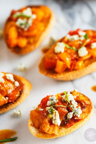 These bites of roasted balsamic tomato crostini are incredibly easy to make and will be one of your favorite appetizers to make for years to come!