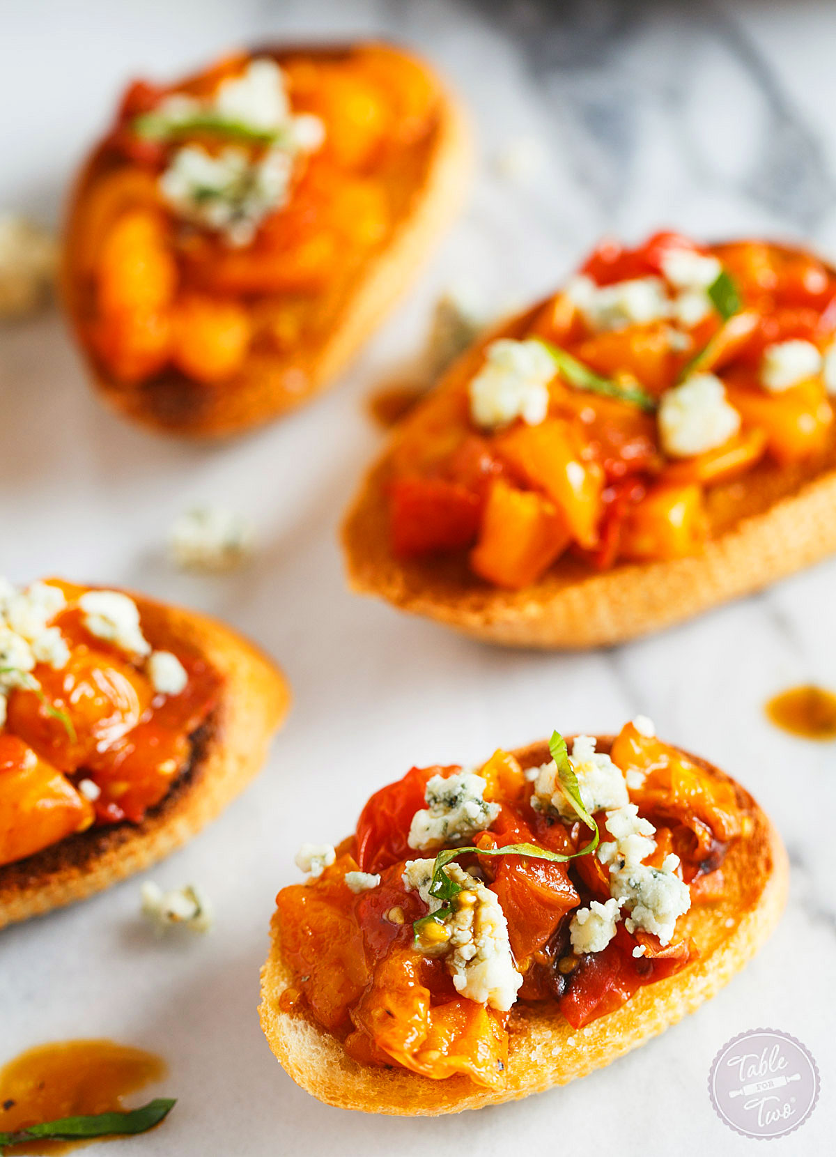 Roasted Balsamic Tomato Crostini - Table for Two
