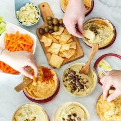 Having an unofficial meal by having a hummus party with friends! #hummusparty #sabra #sponsored