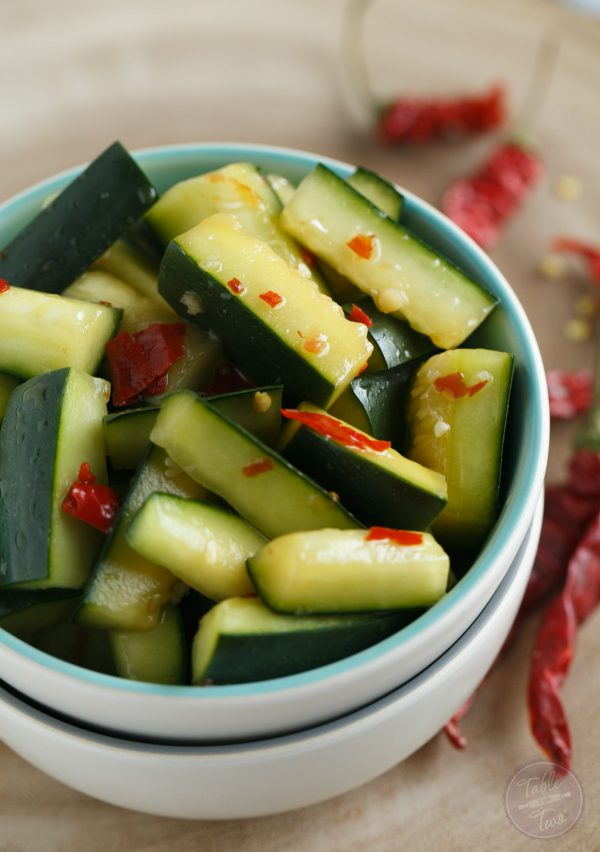 A refreshing and spicy Chinese cucumber salad that is a great starter for any meal!