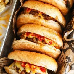 You're going to want to sink your teeth into these hot pepper garlic chorizo cheeseburgers!!