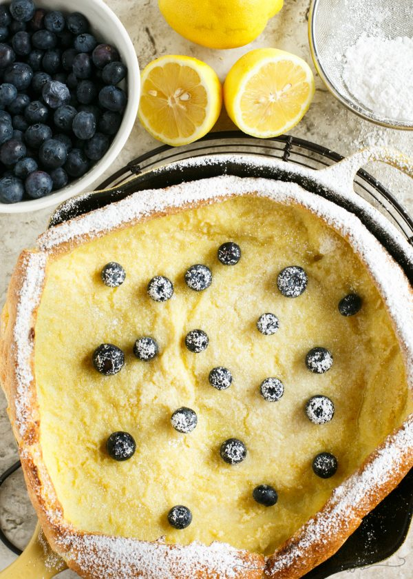 Your new favorite brunch item! Lemon blueberry Dutch baby!