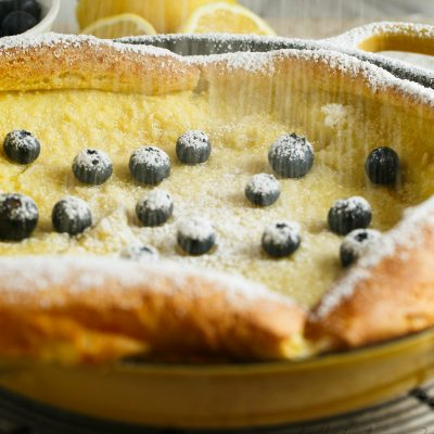 Your new favorite brunch item! Lemon blueberry Dutch baby!