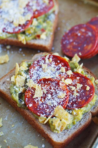 A fun new way to eat toast with @sabradippingco! Pepperoni guacamole toast takes no time to put together and what a creative new way to have toast! #ad