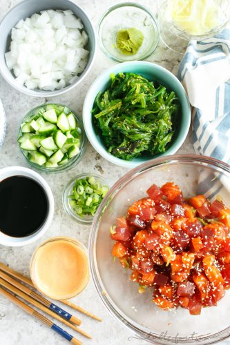 Make your own poke bowl bar with all the fresh toppings you want!