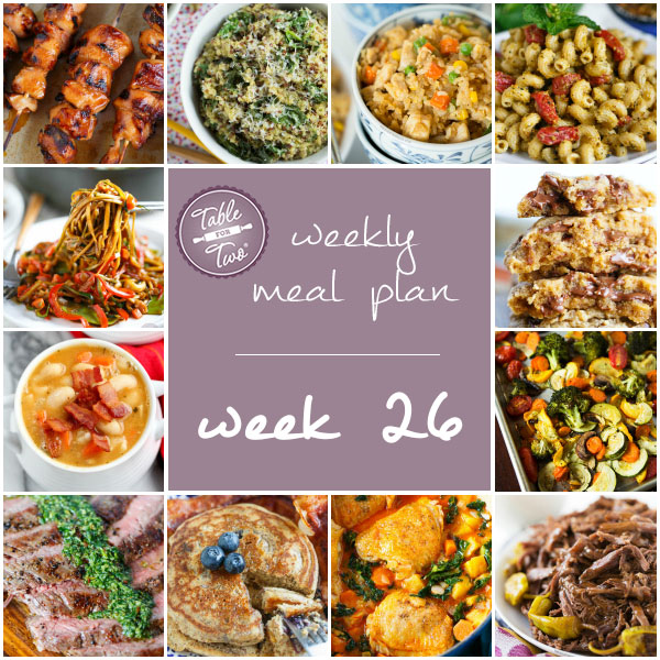weekly meal plan week 26 table for two