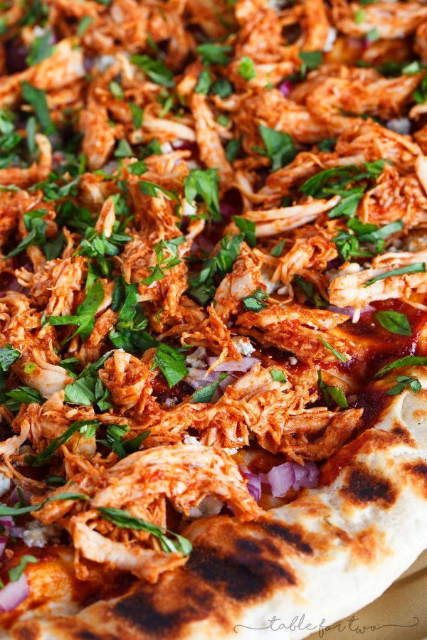 Fire up your grill and make the classic BBQ chicken pizza on the grill!