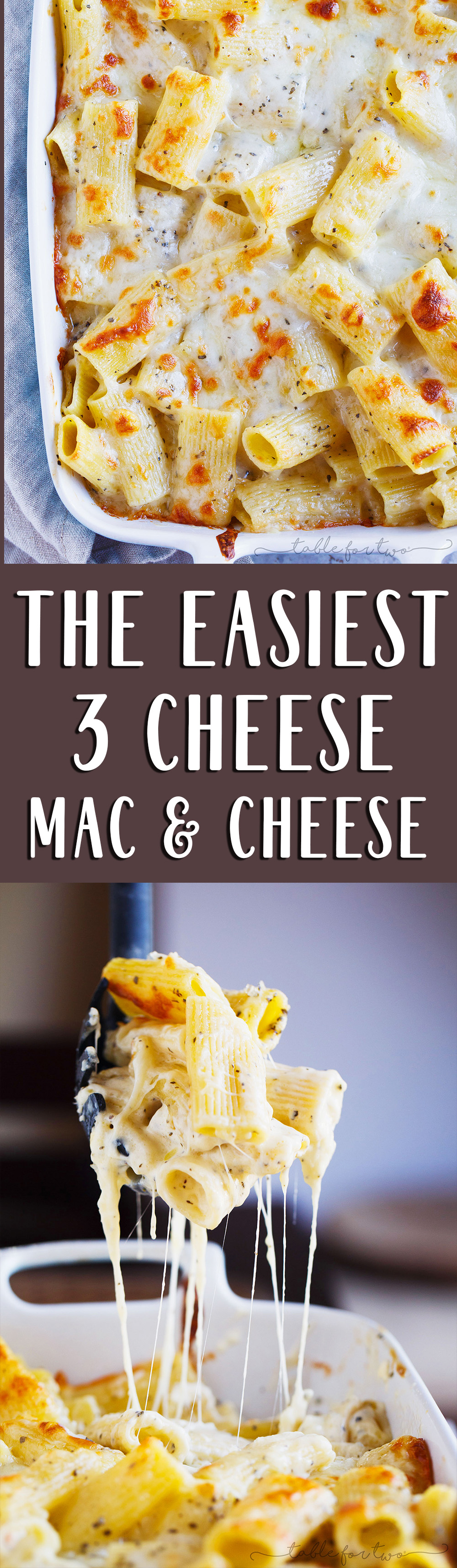 The cheesiest and most decadent yet the easiest three-cheese mac 'n cheese ever!