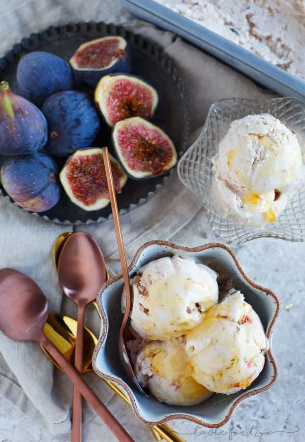 This fig and honey mascarpone ice cream is a beautiful pale pink with the most incredibly rich and creamy texture! The taste is out of this world and a great way to use your figs!