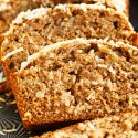 The intoxicating smell of coconut banana bread will be drifting throughout your house as soon as you pop this in the oven! Super moist and tender; you will want to make a double batch!