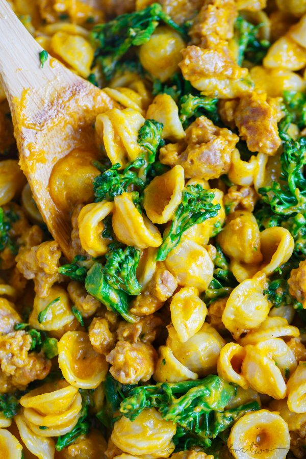 Savory pumpkin dishes are the way to go this Fall if you're in a dinner rut! This pumpkin mascarpone orecchiette with spicy sausage and broccolini will satisfy every person in your family! The pumpkin and mascarpone makes the creamiest sauce and the spicy sausage gives this pasta dish the perfect salty and spicy bite. You will make this over and over again! It's not just a Fall dish!