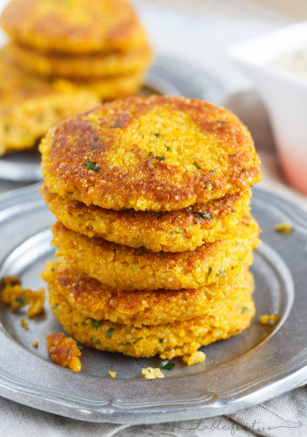 A fun, new way to enjoy quinoa during pumpkin season! This recipe is a unique way incorporate pumpkin into a savory recipe that you've never thought to try before! Pumpkin quinoa parmesan fritters are going to be your new favorite side dish to accompany your dinner this season!