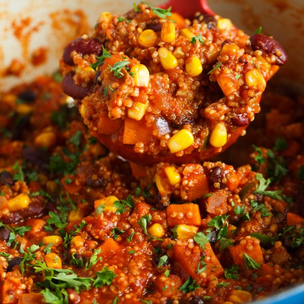 This stovetop turkey quinoa chili is a great spin on the classic chili dish! Full of hearty and delicious ingredients, you will love this chili for any night of the week or a perfect dish to serve for game day festivities!