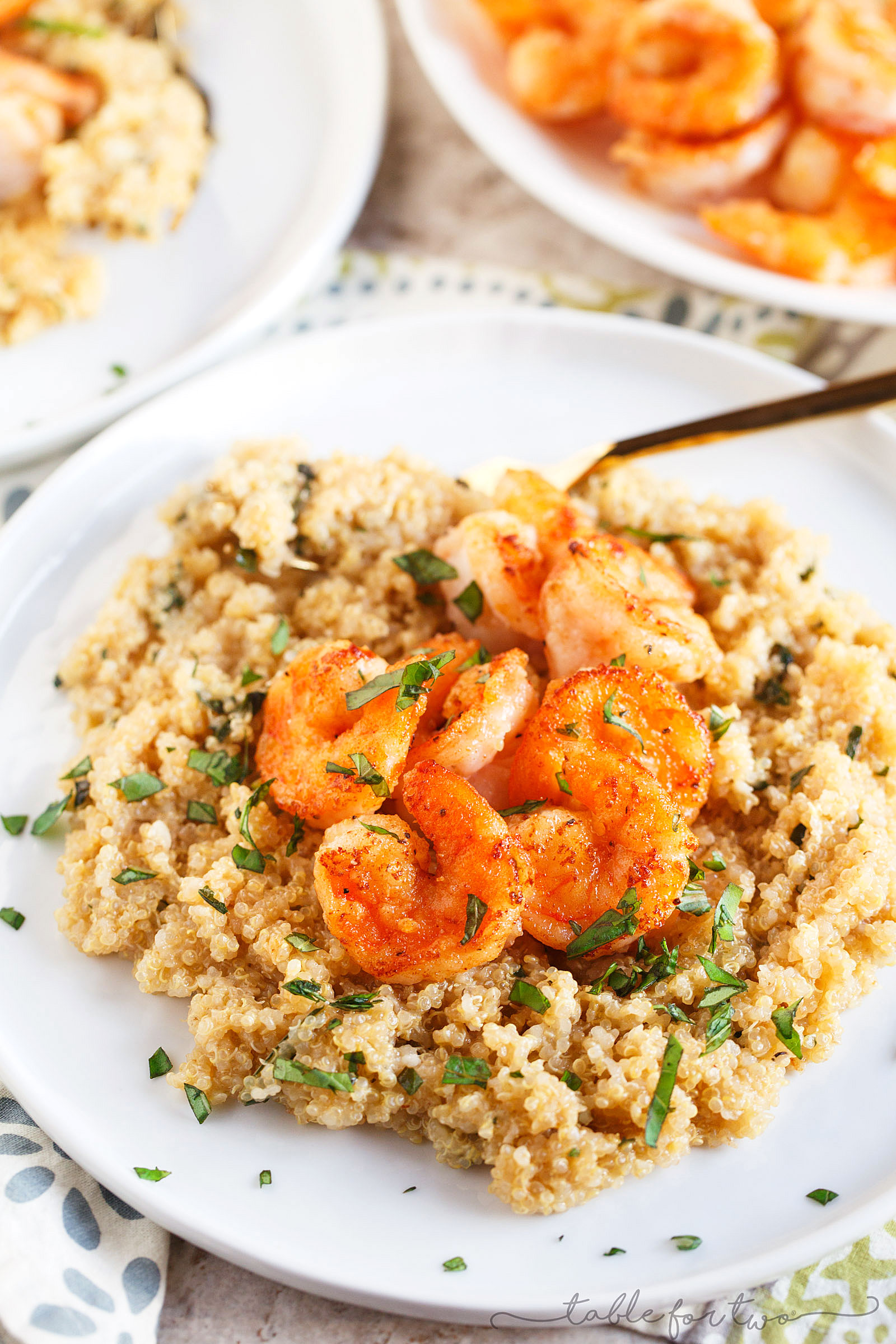 Garlic butter shrimp is a quick and easy weeknight dinner idea! Serve on top of quinoa and you've got yourself a complete and healthy meal!