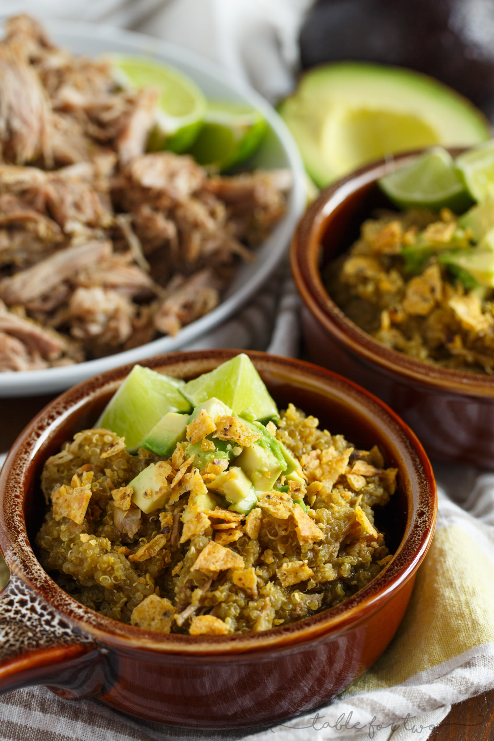 A low-effort weeknight meal with lots of flavor! Slow cooker poblano and tomatillo shredded pork and quinoa is a dish your family will love! The leftovers taste even better after the flavors meld even more! This can even be made in your pressure cooker!