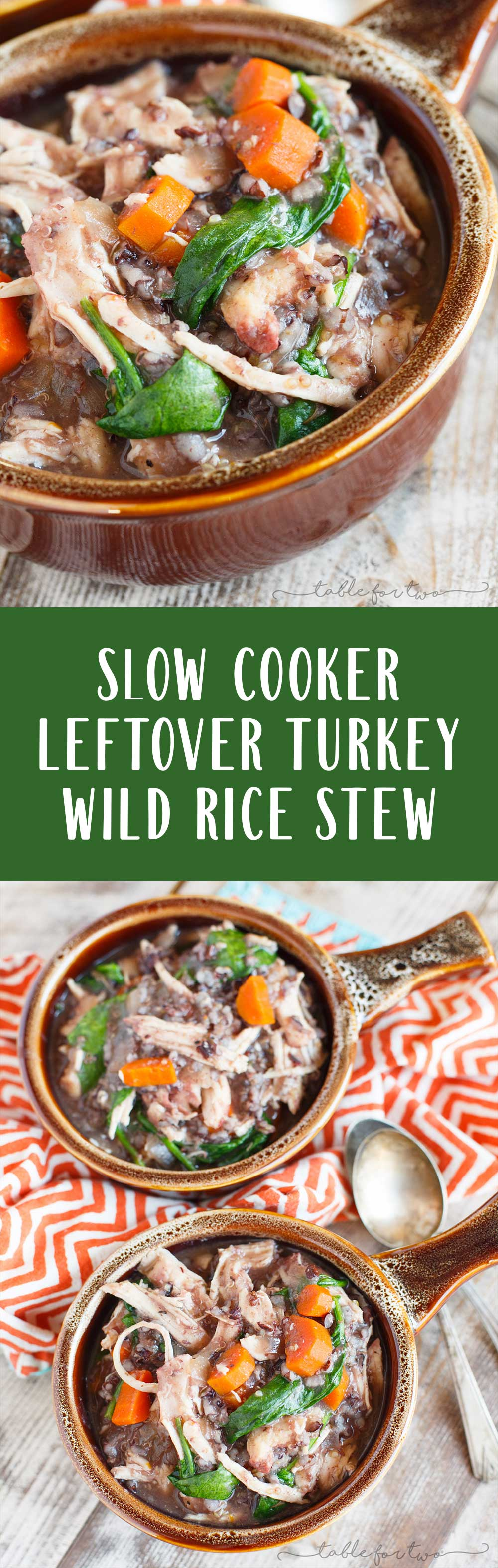 A delicious hearty and comforting slow cooker wild rice stew made with leftover Thanksgiving turkey or any other extra meat that you have leftover! It's a great way to incorporate leftovers in a different way!