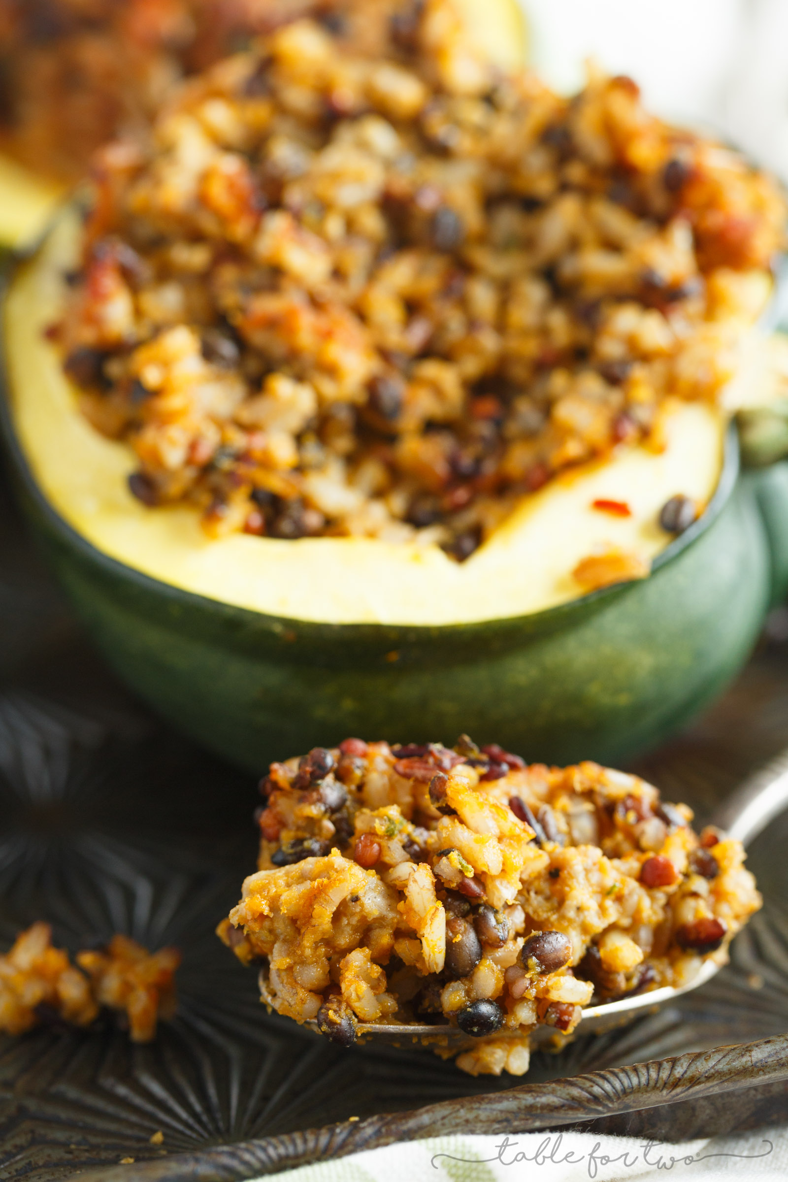 Stuffed Acorn Squash with Sage Apple Sausage and Wild Rice - Table for ...