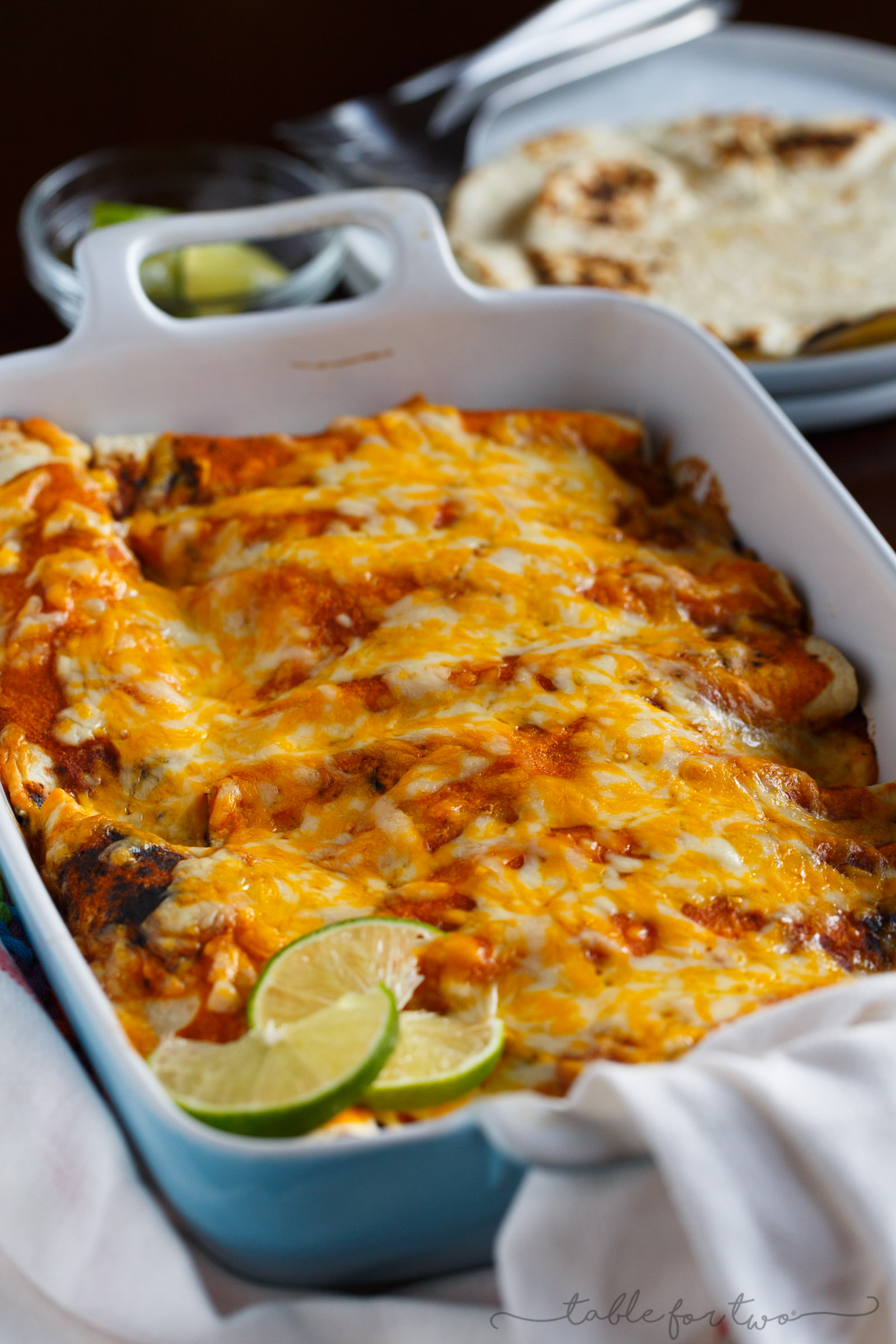 Homemade chicken enchiladas are a great comfort weeknight meal! Paired with a simple blender enchilada sauce, these will be a hit at the dinner table! #HuntsDifference #ad