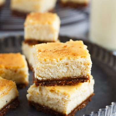 These adorable eggnog cheesecake bites with gingersnap crust are the perfect little addition to your holiday table! These little bites will be gone before you know it!