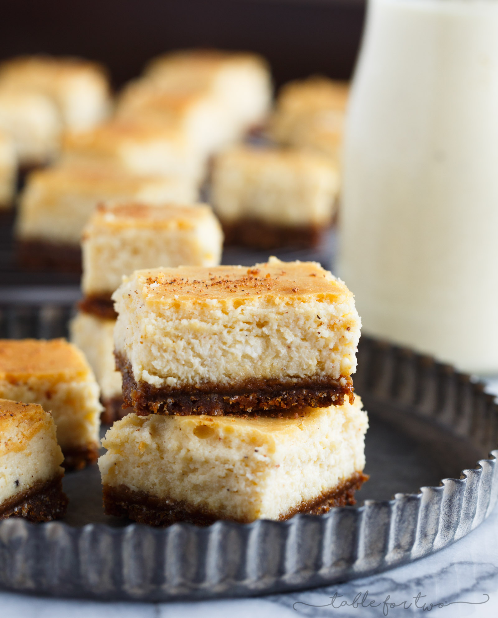 Eggnog Cheesecake Bites with Gingersnap Crust - Table for Two