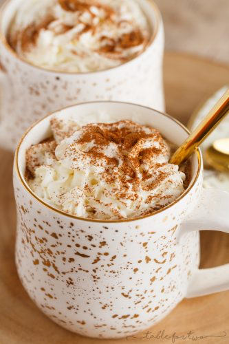 Warm and cozy spicy gingerbread lattes are the only way to beat the cold! These extra spicy gingerbread lattes are the best holiday homemade drink!