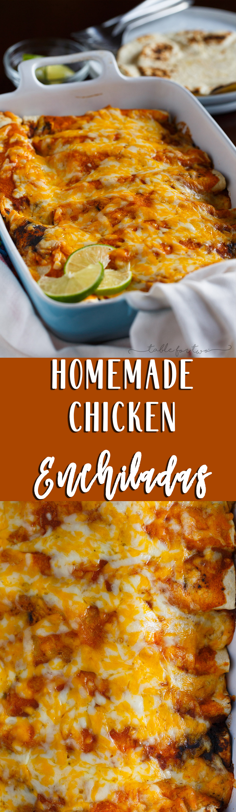 Homemade chicken enchiladas are a great comfort weeknight meal! Paired with a simple blender enchilada sauce, these will be a hit at the dinner table!