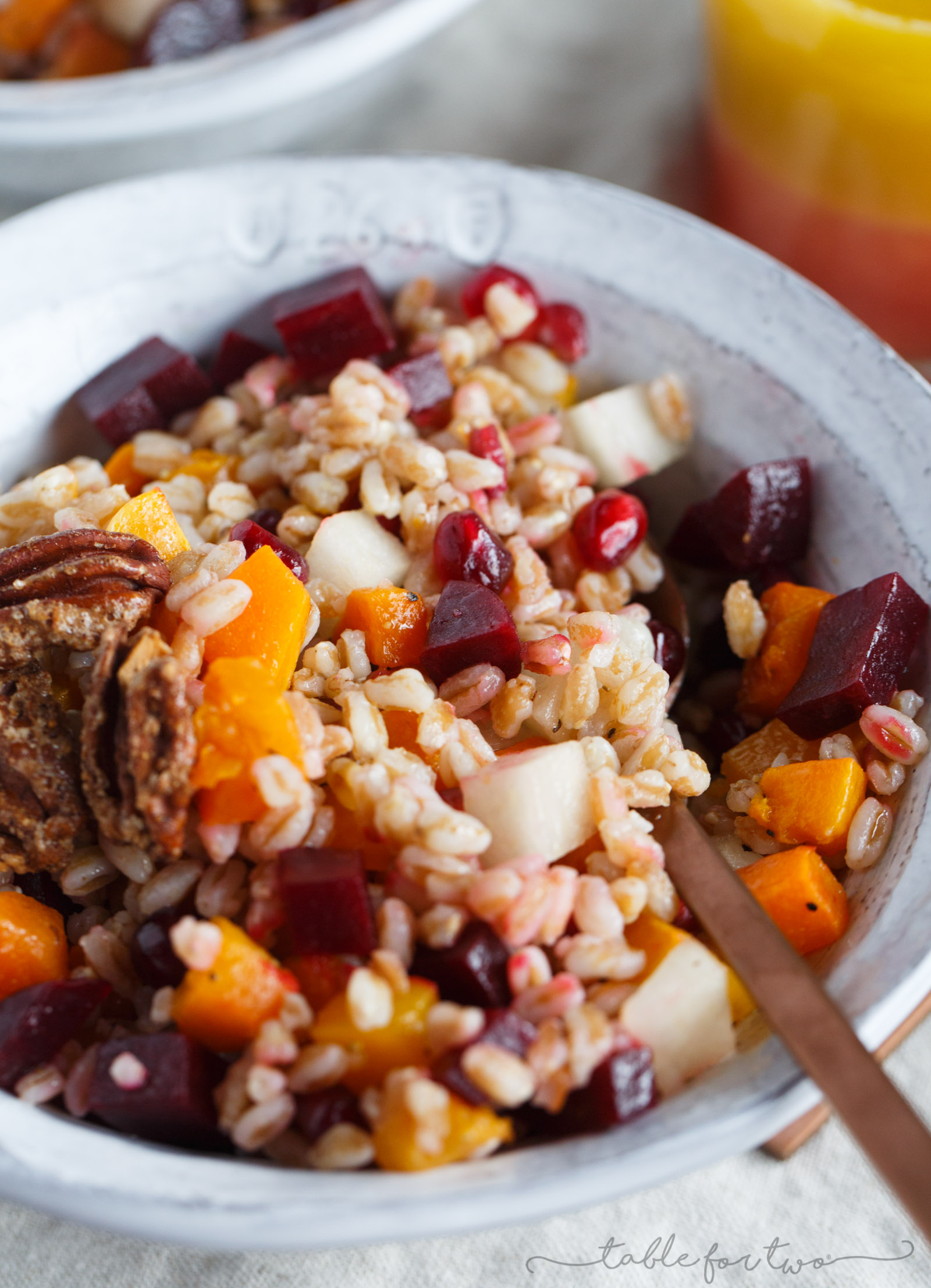 This winter farro salad can turn any drab winter day to a bright one! The farro salad is full of vibrant colors and ingredients and topped off with a sweet and tangy blood orange vinaigrette that finishes the salad perfectly!