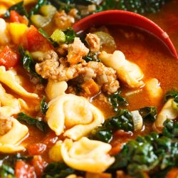 This spicy sausage and vegetable tortellini soup is exactly what you need when cold weather hits! Chock-full of veggies and cheesy tortellini; this soup will warm you right up! #HuntsDifference #ad