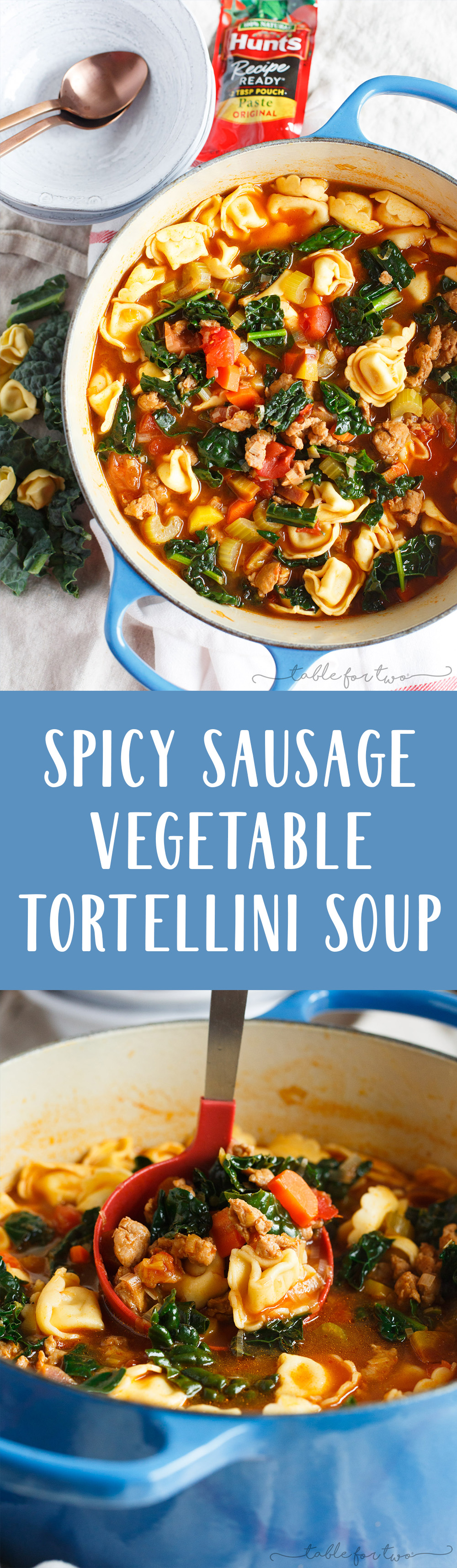This spicy sausage and vegetable tortellini soup is exactly what you need when cold weather hits! Chock-full of veggies and cheesy tortellini; this soup will warm you right up!