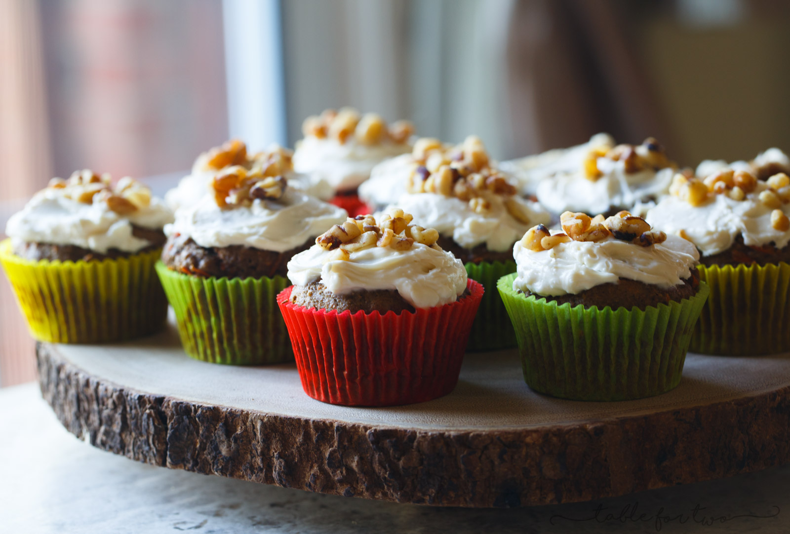 Tender and moist carrot cake muffins that are topped generously with a cream cheese frosting. The perfect muffins when you don't want to make an entire carrot cake! An easy and pretty healthy treat for any occasion or for Easter celebrations!
