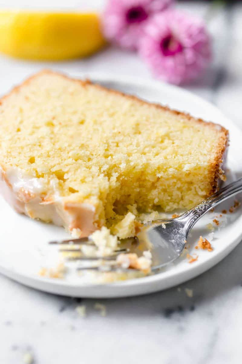 The lemon pound cake itself has a subtle lemon flavor but you really don't get the citrus punch until the glaze hits your tongue. It's tart and sweet at the same time and rounds out the cake part perfectly!