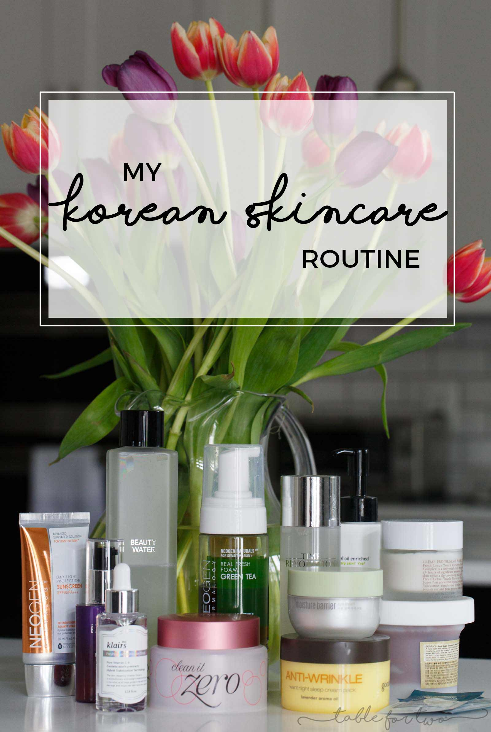 My Korean skincare routine that helps keep my face hydrated and moisturized. As a result, I have supple and dewy skin throughout the day that will hopefully combat the signs of aging!