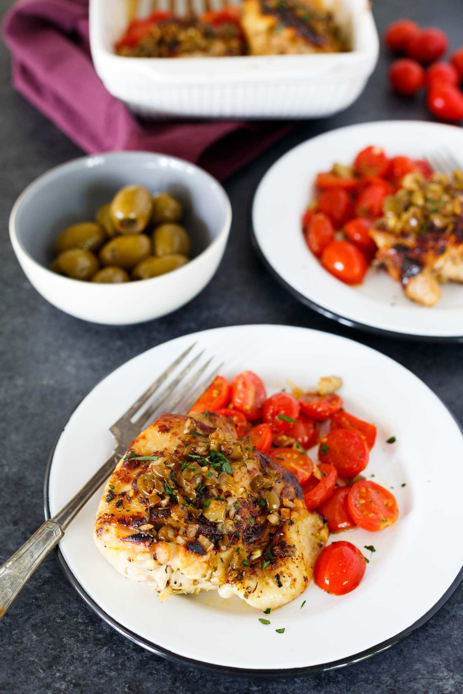 Roasted Chicken with Olives and Tomatoes - Quick Oven ...
