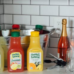 A mimosa and lemonade bar is the perfect way to get your girlfriends together for a morning of laughter and fun! Mix up your own for the perfect cocktail! #FloridasNatural #ad