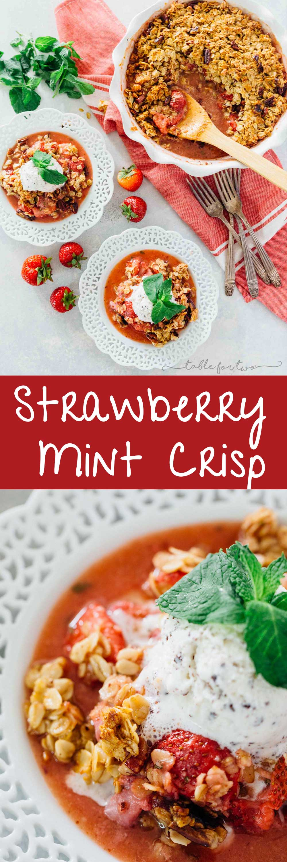 A quick and easy way to use up all your fresh mint from the garden and the fresh strawberries of the season! Strawberry mint crisp is an easy dessert with the most flavorful crisp topping! Don't forget the ice cream scoop on top!