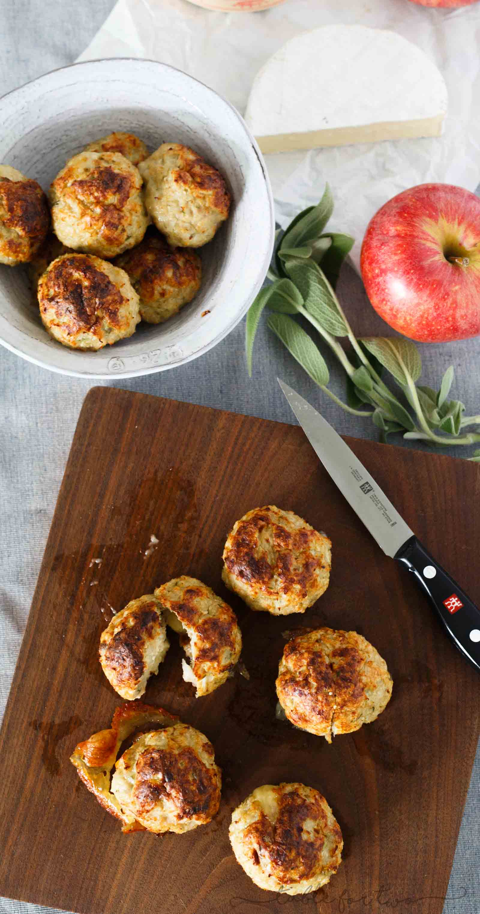 Stuffing anything with cheese automatically makes it exponentially better. These stuffed cheesy chicken apple and sage meatballs give the element of surprise with brie in the center of these!