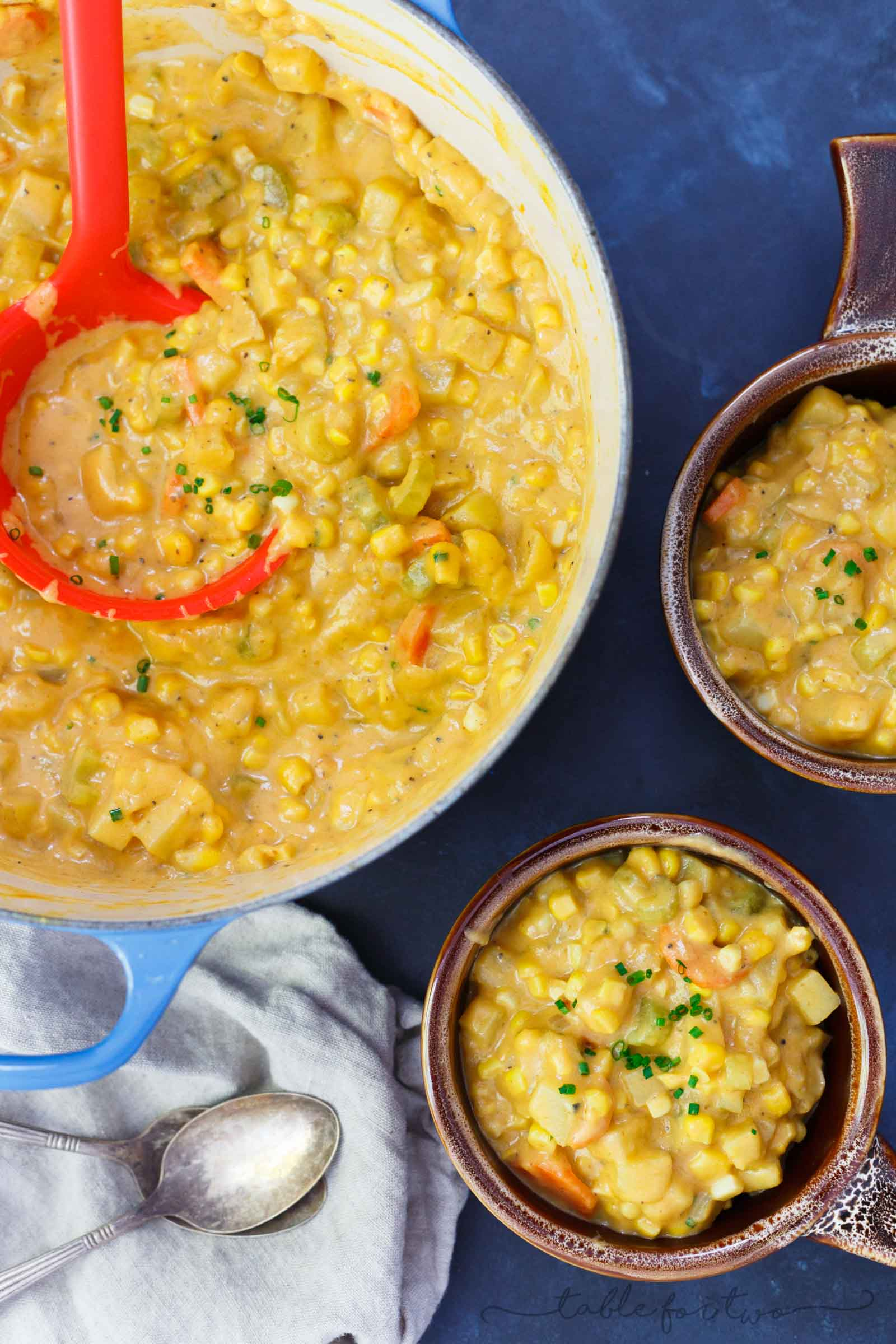 A hearty and comforting corn and pumpkin chowder that will warm you right up! Super chunky and full of texture!