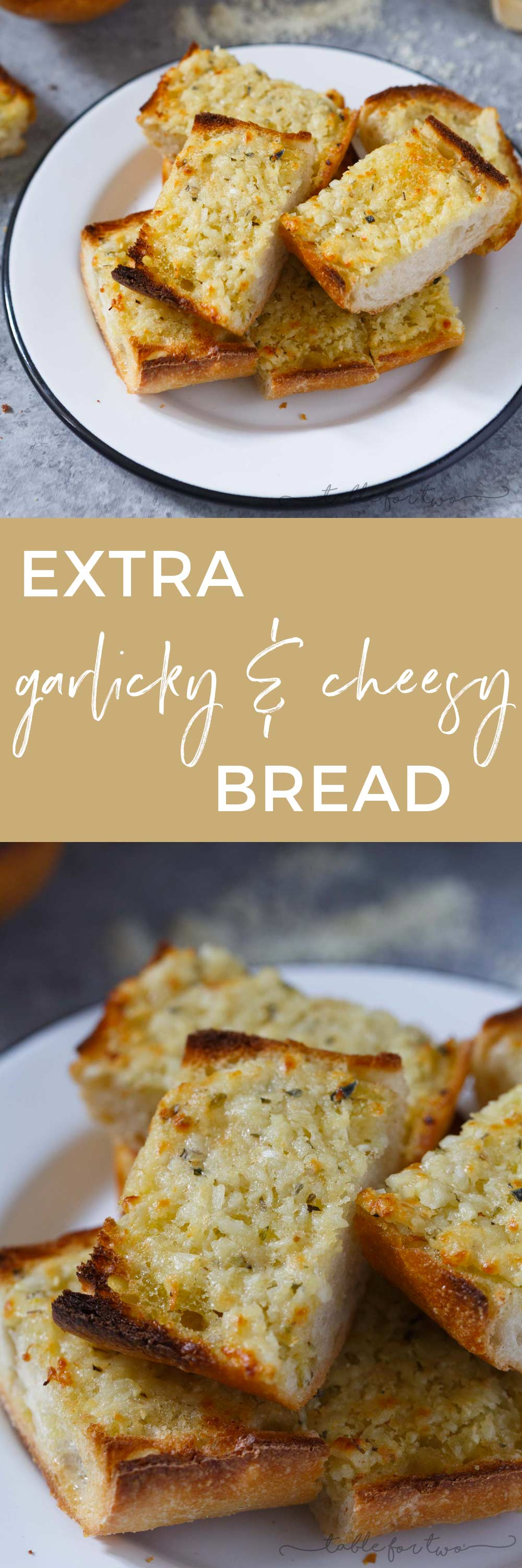The title of this recipe says it all. Kiss me if you dare because after noshing on this extra garlicky and cheesy bread, you're probably going to second guess it. However, eating this bread is 100% worth the garlicky breath.