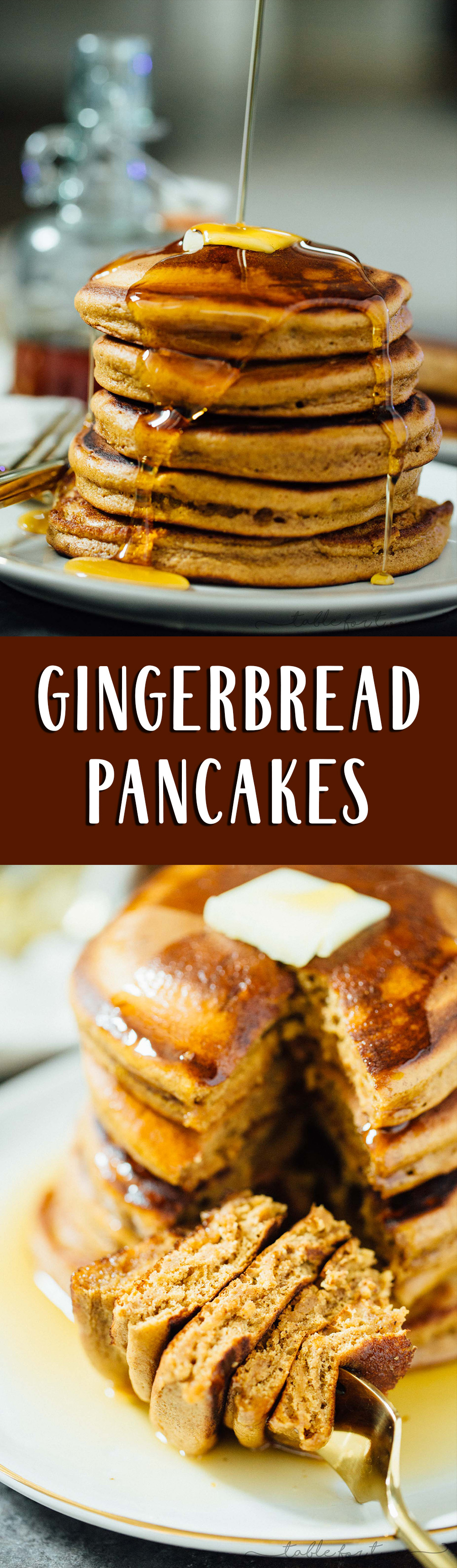 Fluffy and full of gingerbread flavor, these gingerbread pancakes are the perfect breakfast or brunch item to have on hand!