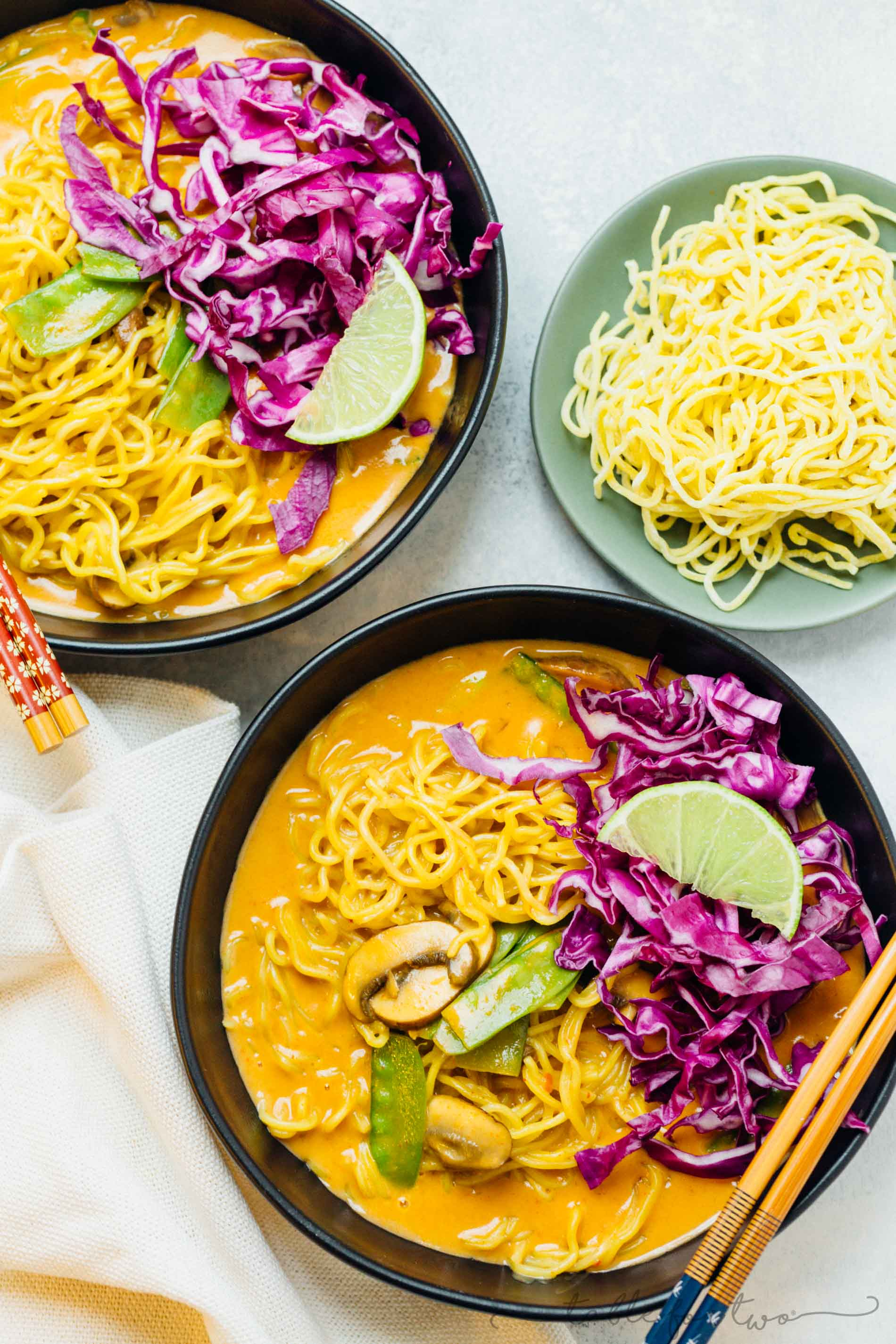 This coconut curry ramen will warm you right up! A delicious broth coats the tender ramen noodles. You will want to slurp up every last drop of this soup and ramen!